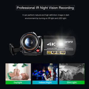 Image 5 - Ordro câmera de vídeo ac3 4k, wi fi, câmera camcorder, 24mp, 3.1, Polegada ips, 0.39x, ângulo aberto, lentes + microfone + capuz + suporte da câmera das lentes