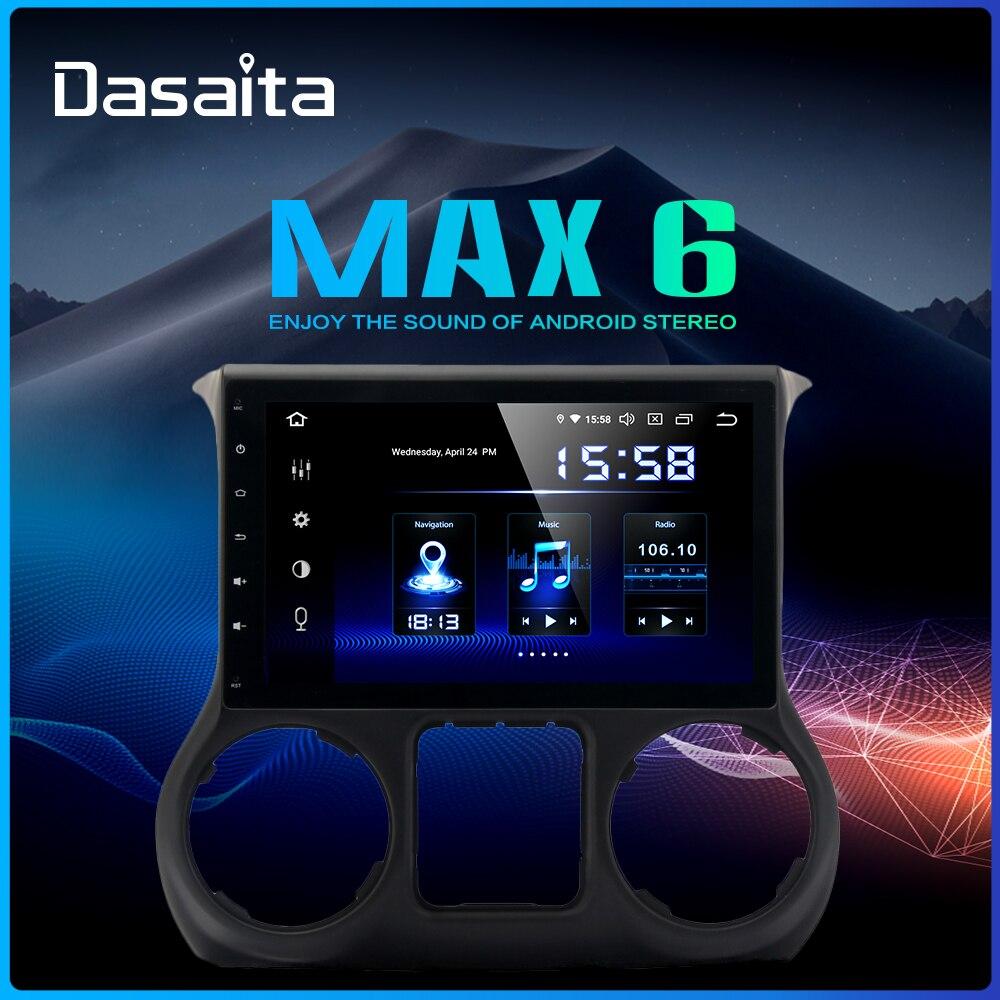 Dasaita 10.2 IPS Screen 1Din Car Android 9.0 DSP for Jeep Wrangler Radio 2011-2016 HDMI Bluetooth 1080P Video 64G ROM MAX6