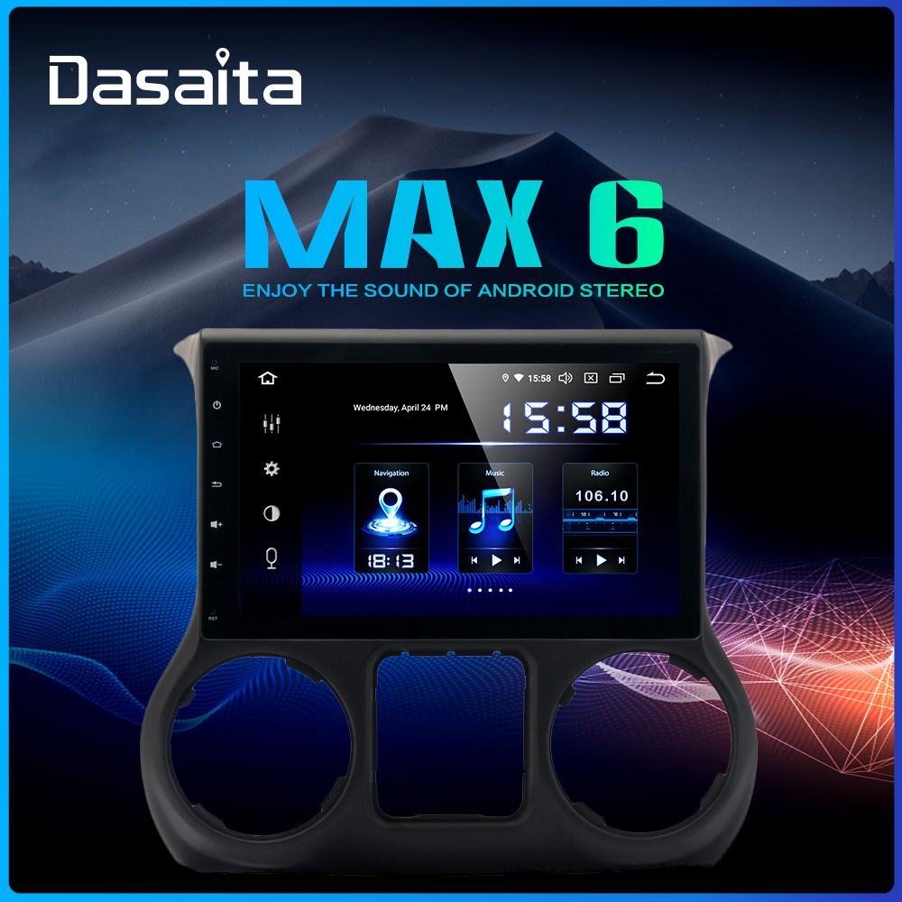 Dasaita 10.2 IPS Screen 1Din Car Android 9.0 DSP for Jeep Wrangler Radio 2011-2016 HDMI Bluetooth 1080P Video 64G ROM MAX6
