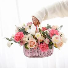 Handmade Oval Portable Woven Storage Basket Waterproof Straw Braided Flower Organizer