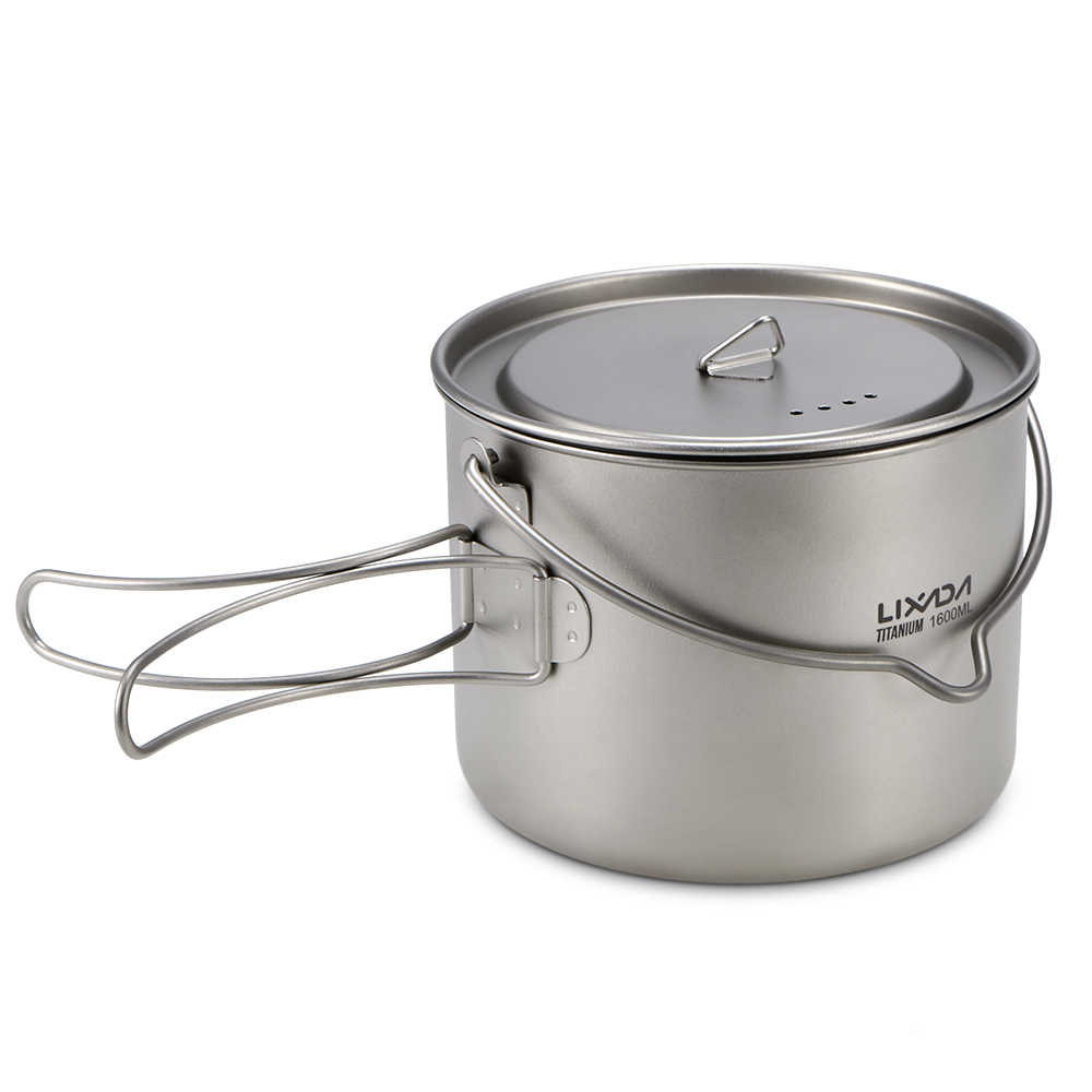 900ml/1600ml Titanium Pot Hanging Camping Pot Titanium Cup Water Cup with Lid Foldable Handle Outdoor Tableware Picnic Cookware