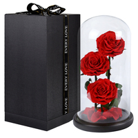 Preserved Flowers Unwithered 3PCS Eternal Roses in a Glass Dome Desk Decoration for Valentine's Day