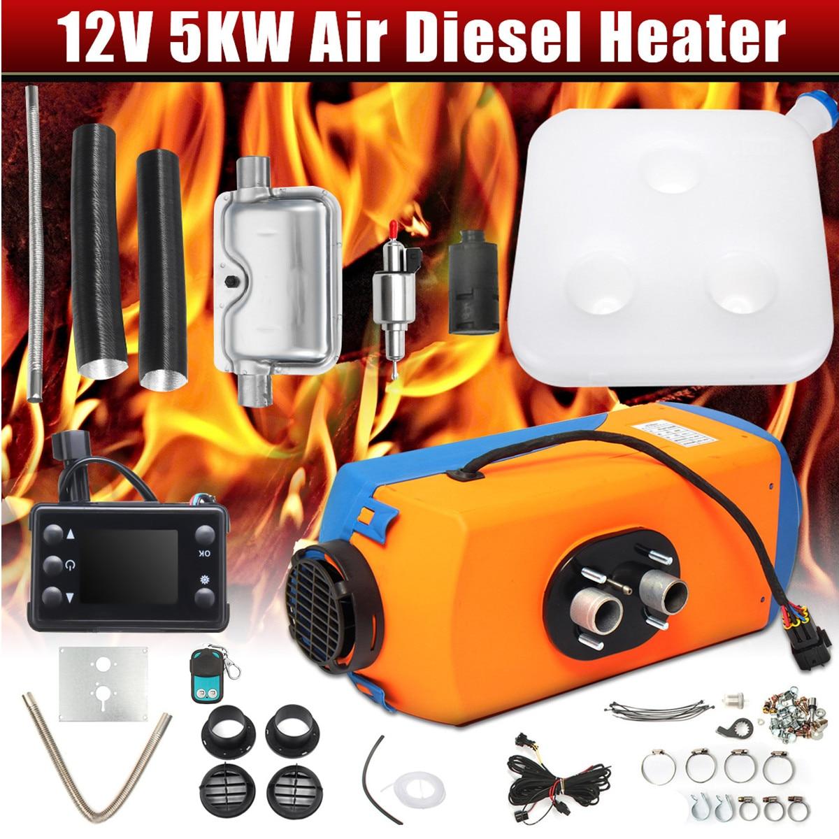 KROAK 5KW radiateur de voiture 12 V écran lcd Diesels Chauffe-chauffage de stationnement + Silencieux pour Caravane Camping-Car Camion Auto Chauffage