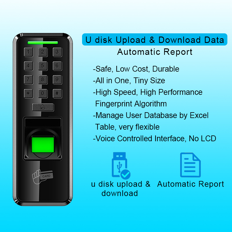 Access Control Security & Protection Office Use Waterproof Biometrics Fingerprint Access Control Keypad Reader With Backlight Led Touch Exit Button Dependable Performance