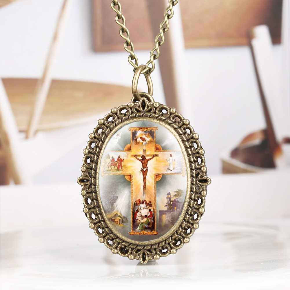 Retro Bronze Jesus Cross Theme Quartz Pocket Watch Pendant Clock For Men Women Exquisite Jewelry Gifts for Men Women