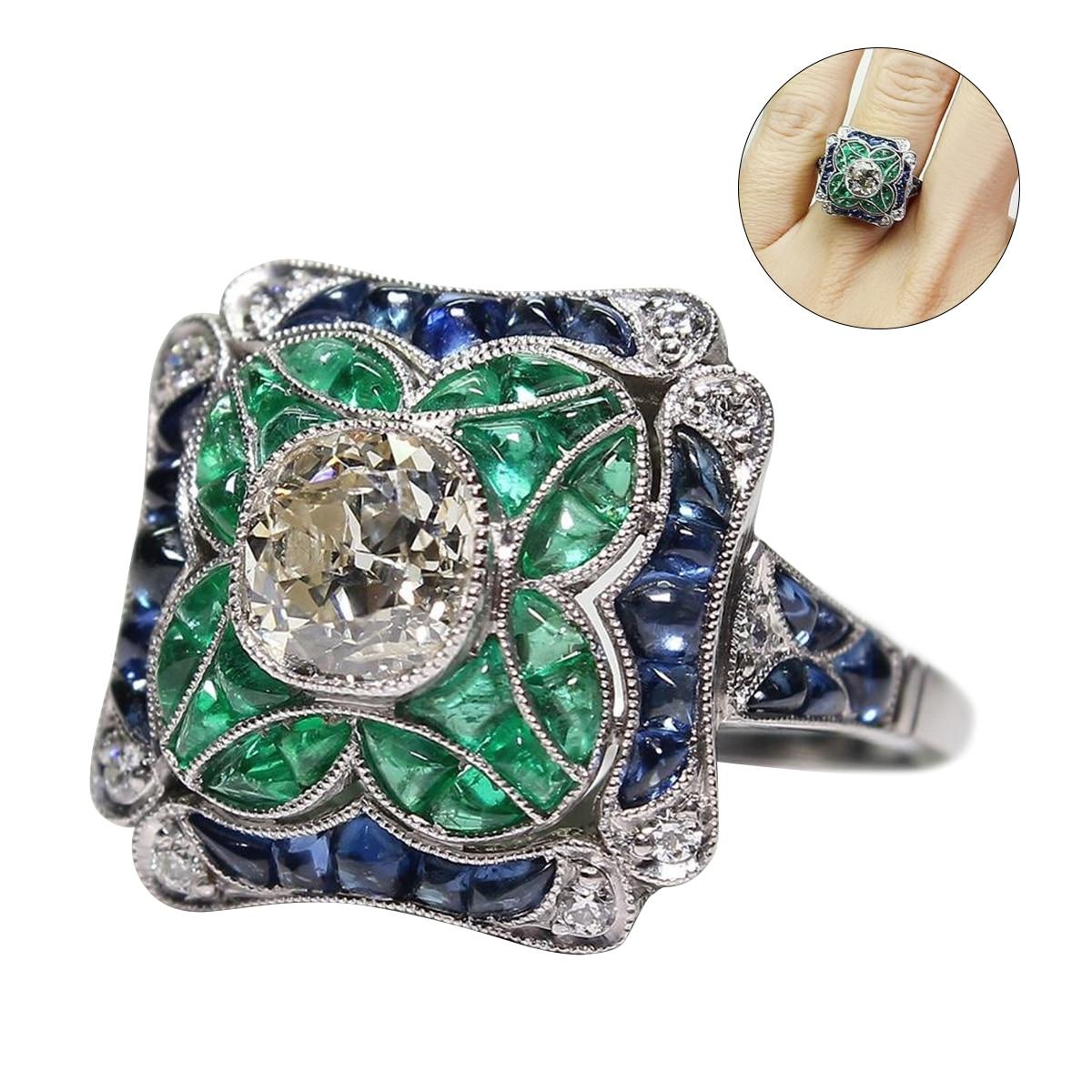 Vintage 925 Silver Emerald Zircon Ring Women Jewelry Anniversary Gift Sz6-10 MS