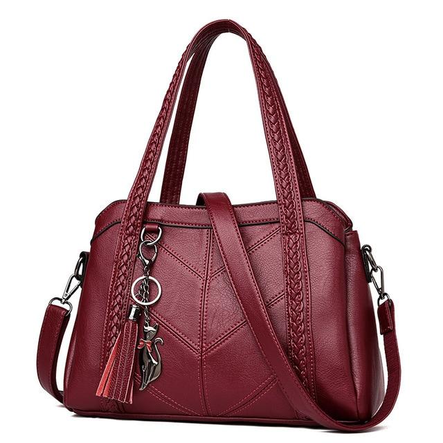 d75ad28b2b81 2019 Hot Women Handbag Genuine Leather Tote Bags Tassel Luxury Women  Shoulder Bags Ladies Leather Handbags