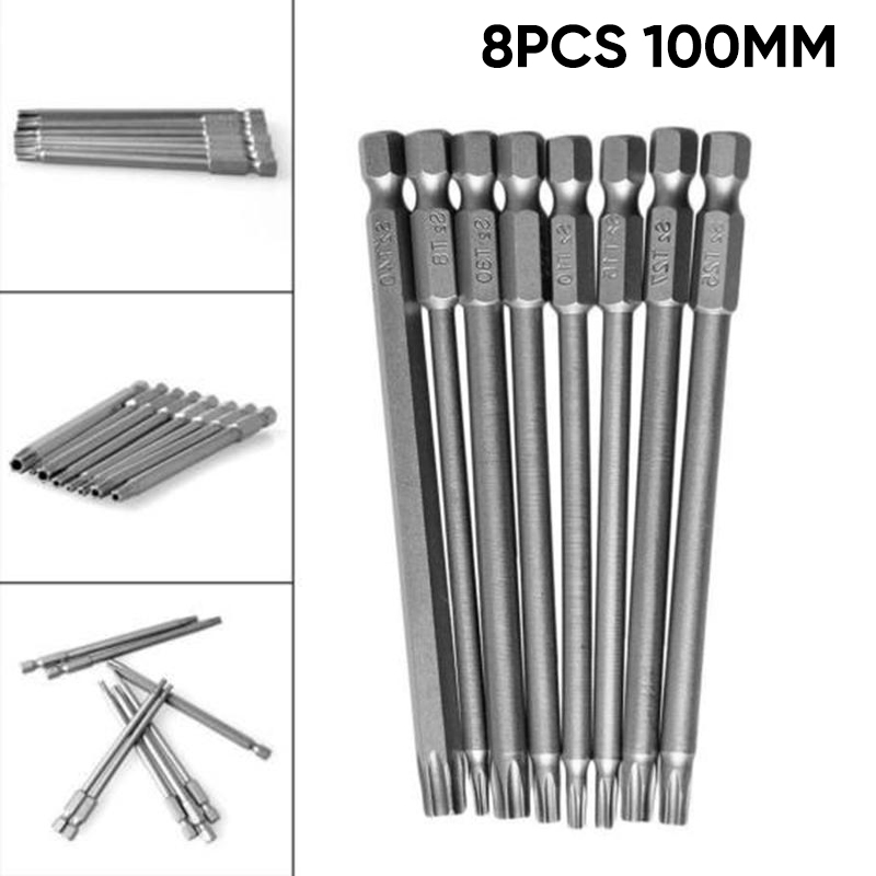 Hot 8Pcs 100mm Long Magnetic Torx Security Electric Screwdriver Drill Bits Set K