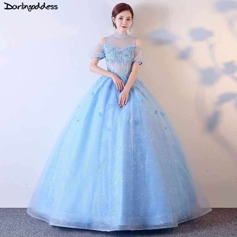 74a7306f3f2 2019 Cheap Quinceanera Dresses Ball Gown Light Blue Sweet 16 Dress For 15  Years Debutante Party