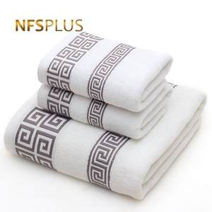 Towel-Set Washcloth 1-Bath-Towel Travel Terry Adults White Blue Solid-Color 2-Face Cotton