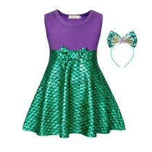AmzBarley Little mermaid Dress Ariel Costume girls Birthday Party Cosplay Outfits Bowknot Children Sleeveless Halloween Clothes
