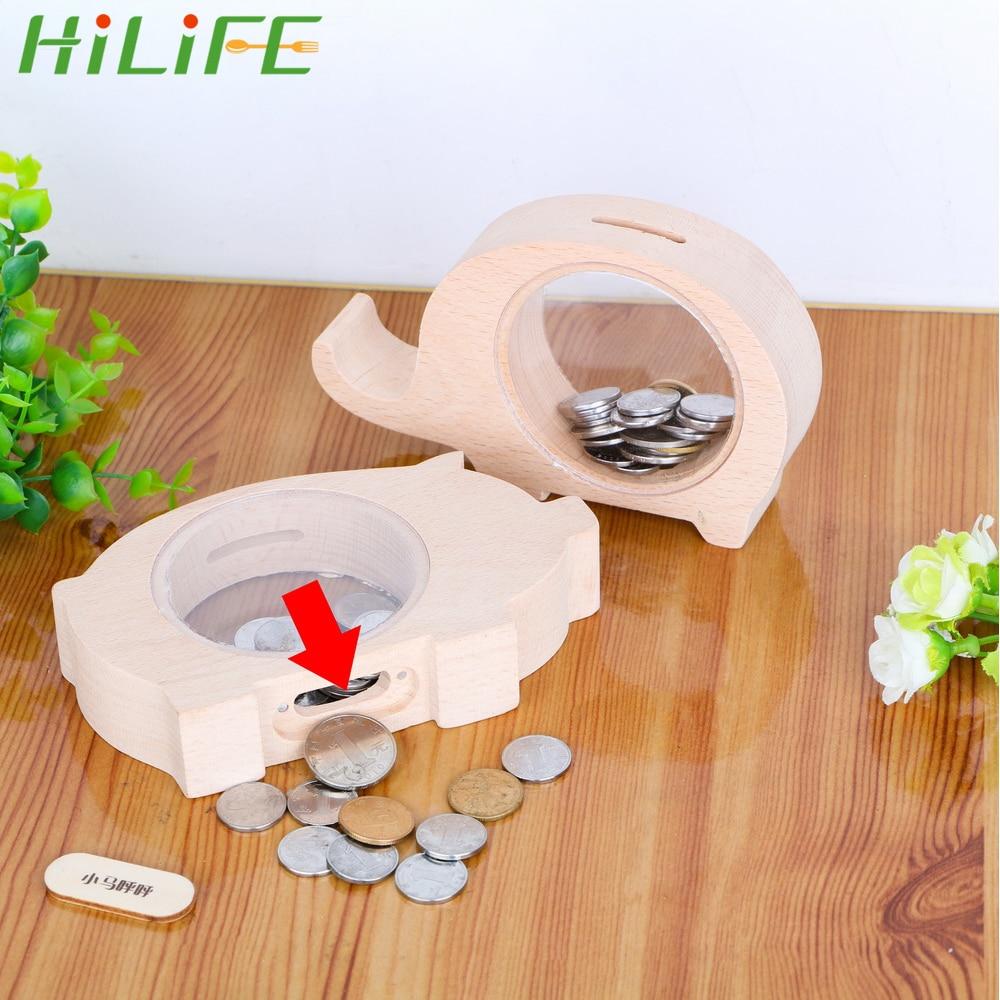 HILIFE Cute Transparent Wood Box Piggy Bank Coins Storage Jar Money Saving Box Piglet Elephant Change Piggy Bank Birthday Gift