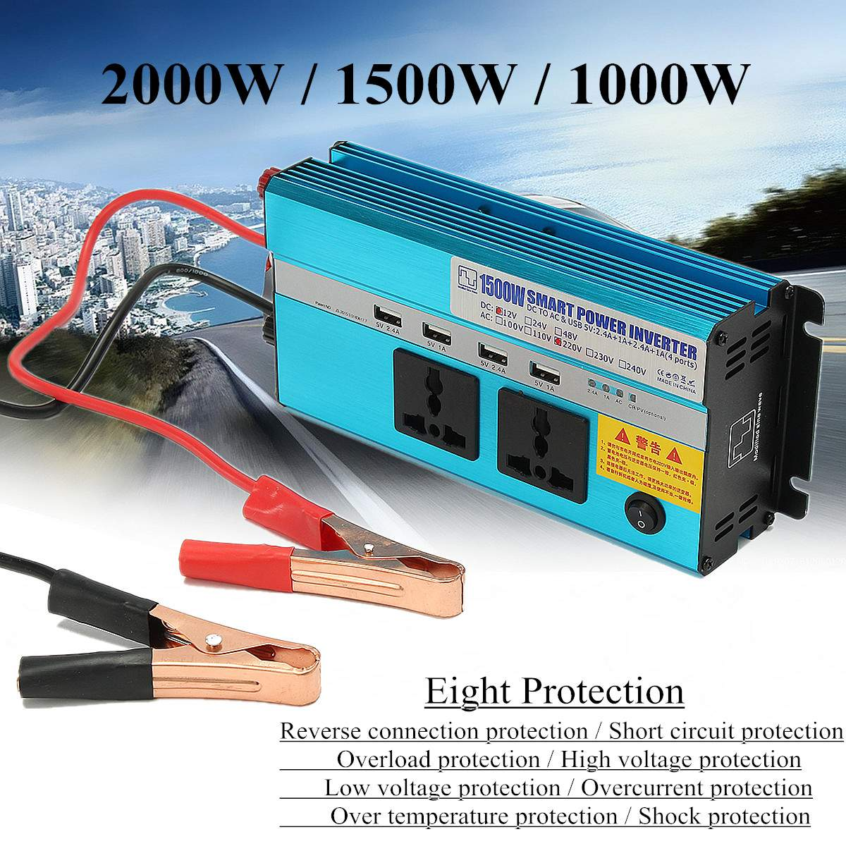 Power Inverter 2000W Auto Modified Sine Wave DC 12V To AC 220V Fast Charging Interface Converter Fuse Cooling Fan ProtectPower Inverter 2000W Auto Modified Sine Wave DC 12V To AC 220V Fast Charging Interface Converter Fuse Cooling Fan Protect