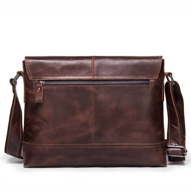 Black Angel Genuine Leather Man Single Shoulder Package Diagonal Package Restore Ancient Ways Crazy Horse Leather Male Bag