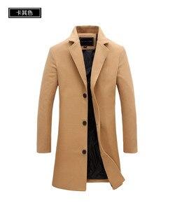 Image 4 - 2020 冬の新ファッションメンズ無地シングルブレストロングトレンチコート/男性カジュアルスリムロング毛織物のコート大サイズ 5XL