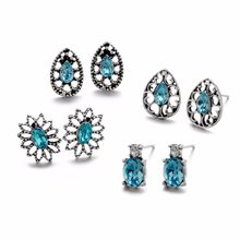 Vintage Blue Crystal 4 Pairs/Set Women Hollow Flower Ear Stud Retro Silver Oval Round Circle Stud Earrings Charms Party Jewelry(China)