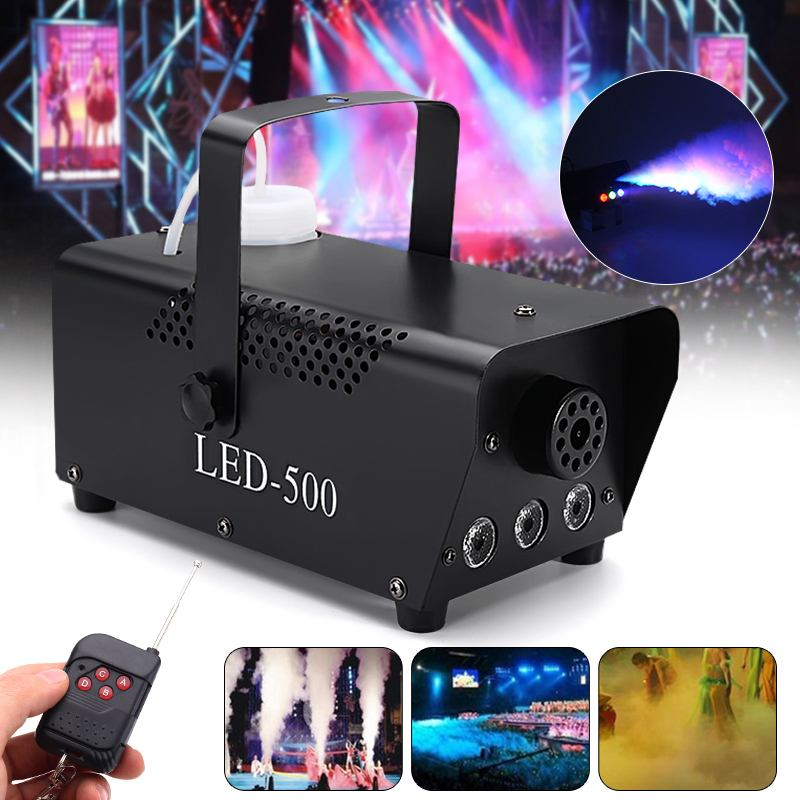 500W RGB LED Fog Machine Remote Control Lighting DJ Party  Smoke Thrower