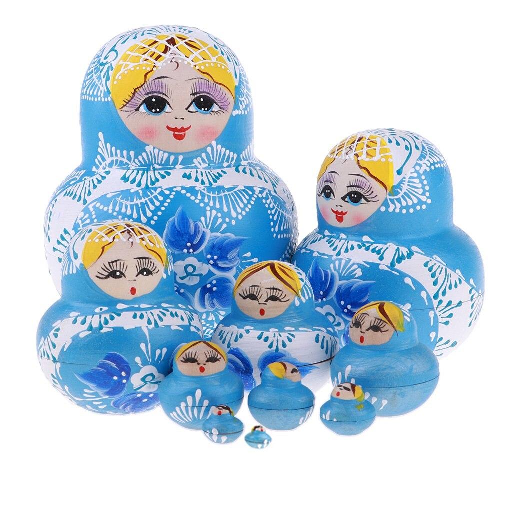"6/"" 10Pcs Russian Nesting Dolls Matryoshka Handmade Stacking Girl Gift Toys"