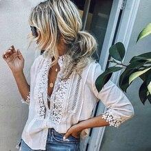 2019 Fashion Women Casual Lace Blouse Shirts Long Sleeve Loose Blouse Summer Plus Size