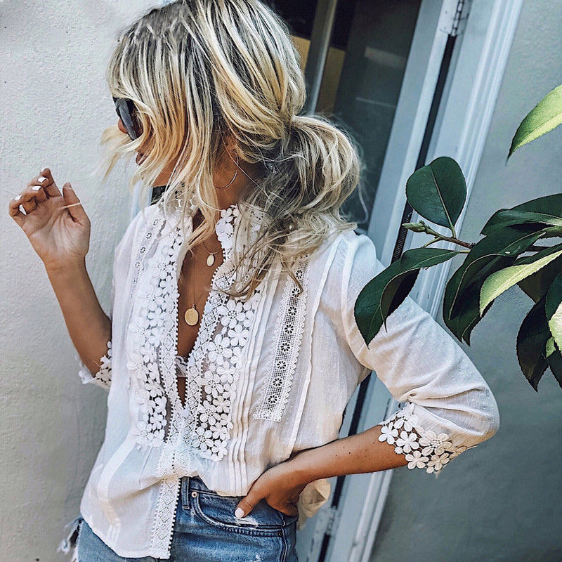 2019 Fashion Women Casual Lace   Blouse     Shirts   Long Sleeve Loose   Blouse   Summer Plus Size