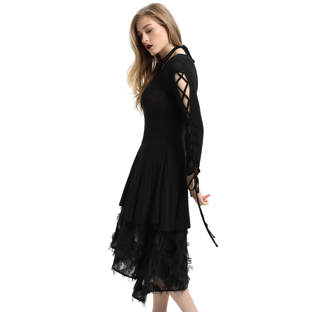 Black robe femme Women Gothic dresses Victorian Long Ribbon Laced Sleeves V Neck Witchy Dress steampunk medieval dress vestido