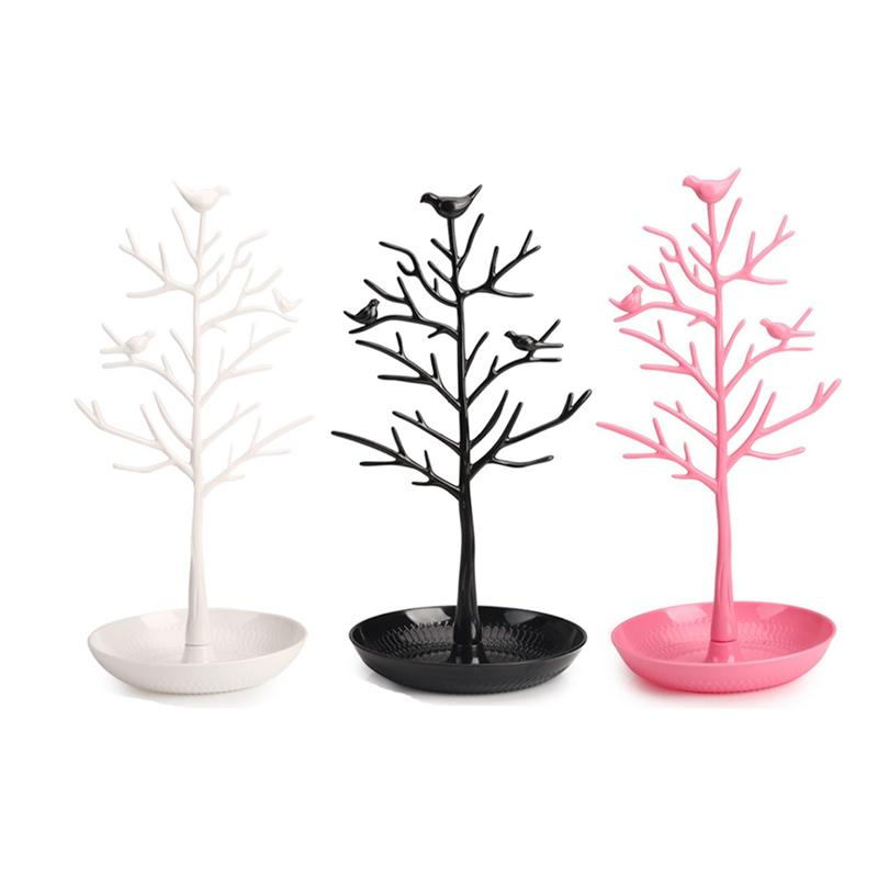 1Pc Birds Tree Design Jewelry Stand Fashion Durable Chic Storage Tower Stand Organizer For Necklace Earring Jewelry Container