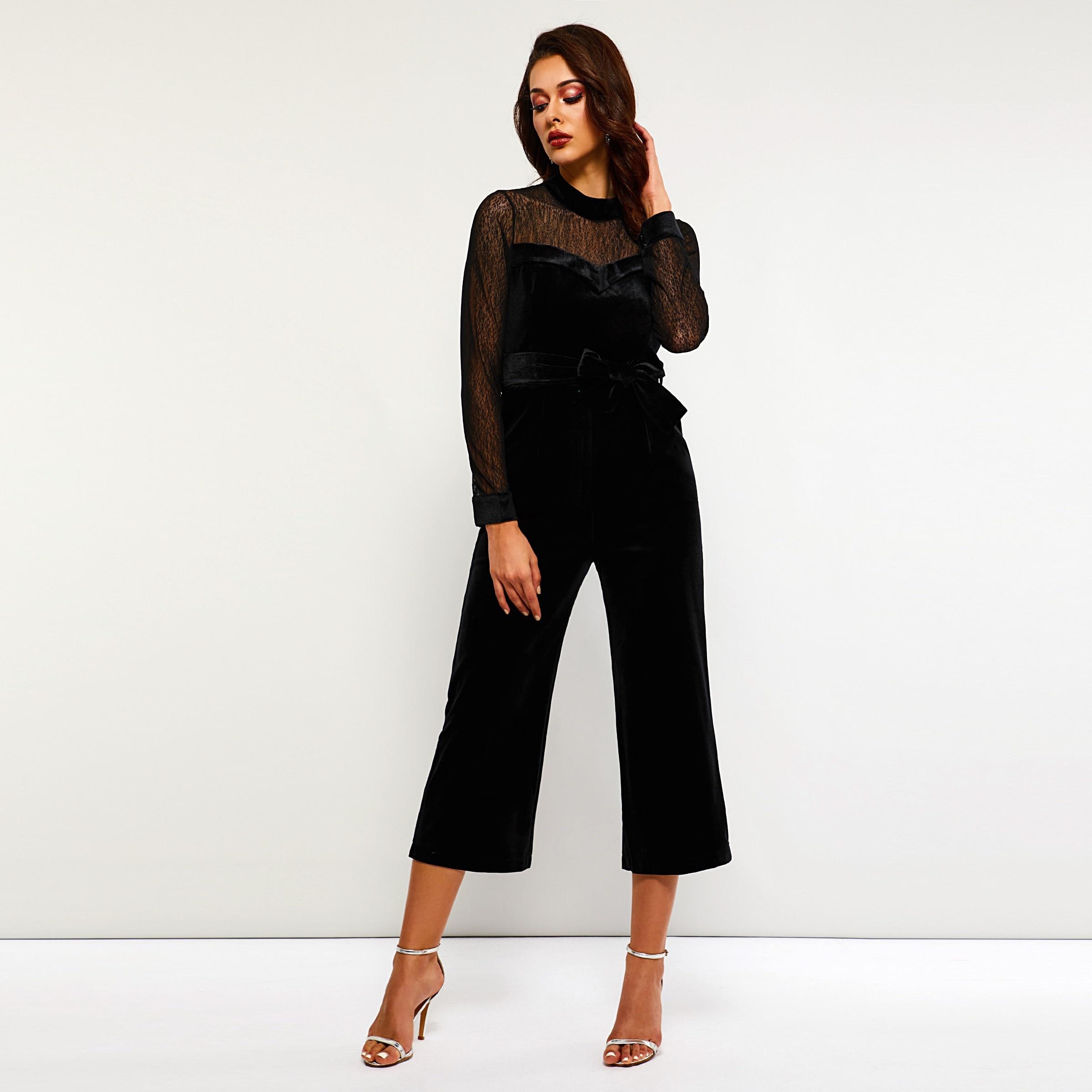 Women Jumpsuits Elegant Casual OL Gothic Slim Wide Legs High Waist Plain Bowknot Female Fall Elegant Goth Black Rompers