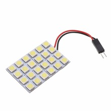 New Arrival 1pc Auto 5050 24 SMD Panel Light White 12V Car LED Reading Dome Trunk Lamp Bulb carking 6w 750lm 6000k 45 smd 5050 led white car dome lights kit for 12 new fit new city