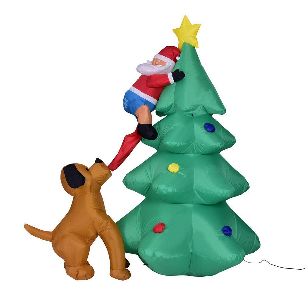 Adeeing 6 Foot Funny Inflatable Santa Claus Climbing On Christmas Tree Chased By Dog New Year