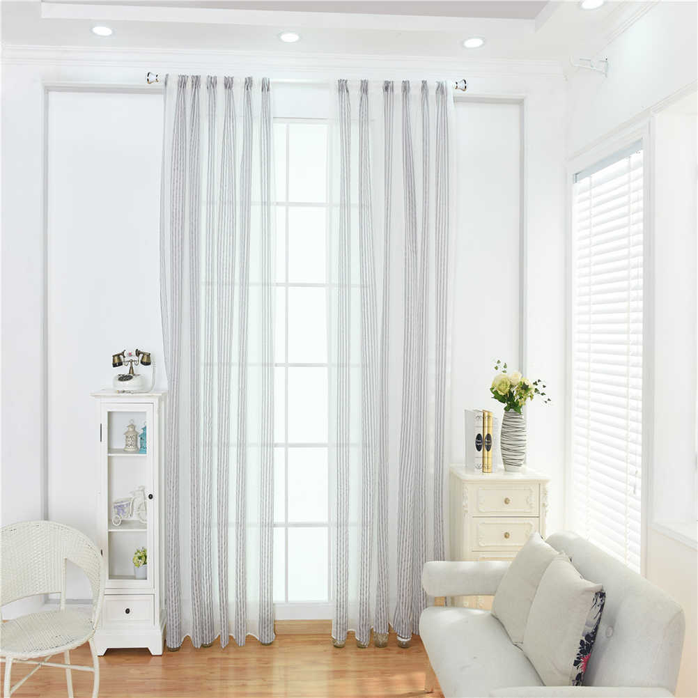 1 Pc הצללת אופסט וואל וילונות מודרני בסדר-פסים קנבוס חוט חלון Sheer-100x200 cm (אפור)