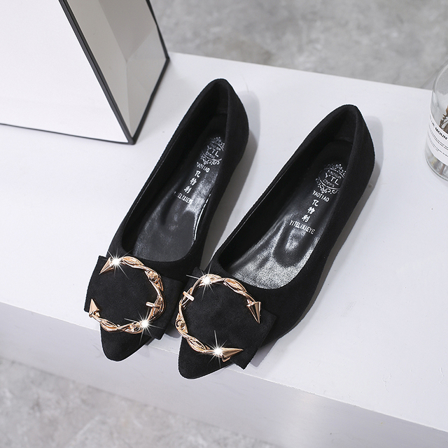 Casual Women Shoes Fashion Korean Style Woman Flat Shoes 2019 New Arrivals Metal Buckle Shallow Ladies Shoes Spring Autumn Flats