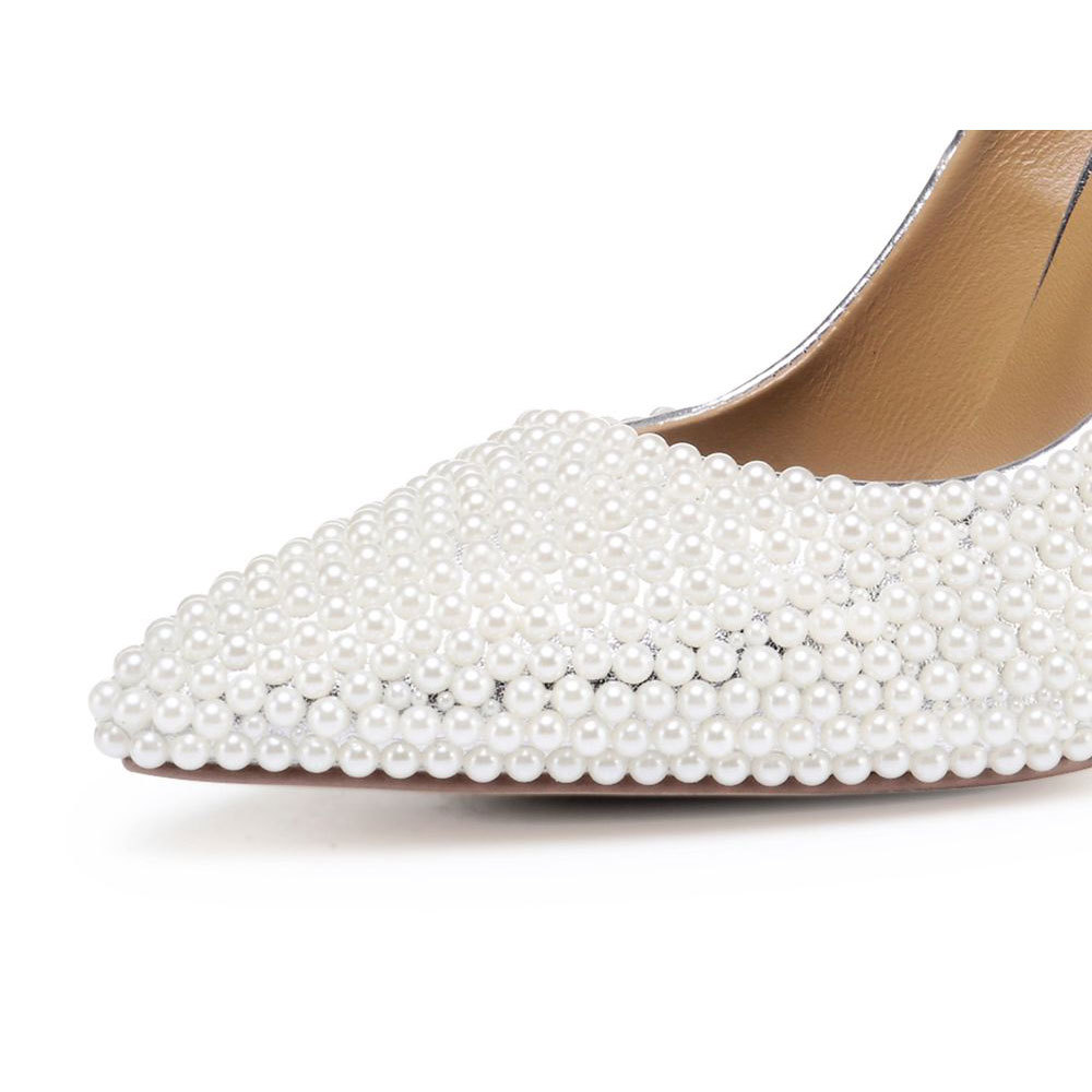 Sur Perle De Gloire Mariée Zapatos Pompes Bout Hauts Pointu Talons Femmes Goujons As Perles Printemps Mariage Slip Pic Chunky xwBwqn068