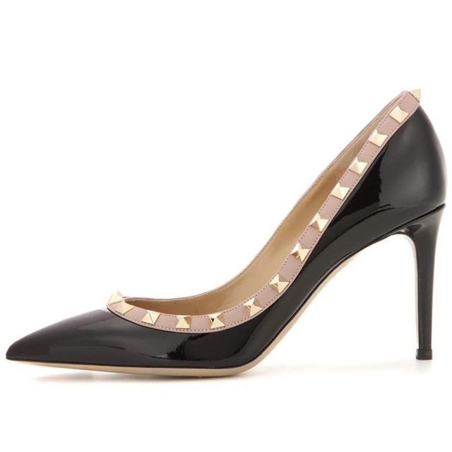 Or Simples Snc or Noir 2019 Moraima Femmes Talons Argent Grande Mode Aiguilles Nouveau Taille Printemps argent Rivets Chaussures De gpz6q