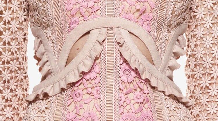 Automne Rose Qualité Haute Femmes Mini Mignon Broderie 2017 Robe Longues Manches À UBxwa7