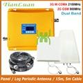 TianLuan LCD Display 3g W-CDMA 2100 mhz + 2g GSM 900 mhz Dual Band Handy Signal Booster GSM 900 2100 UMTS Signal Repeater