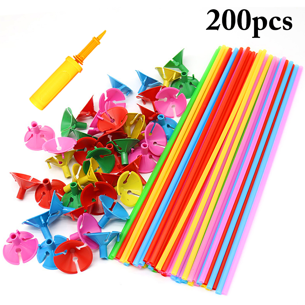 200PCS 15.75'' Balloon Sticks Mixed Colors Balloon Holders With Cups & Pump For Party