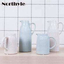 Europe vintage ceramic vase white flower home decoration blue porcelain wedding floor bottle