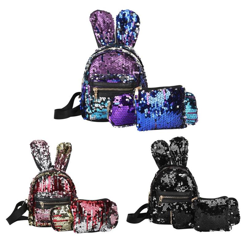 Luggage & Bags 3pcs/set Mini Sequins School Backpack Women Rabbit Ears Rucksack Pencil Case Shoulder Bags Backpack Mochila Feminina
