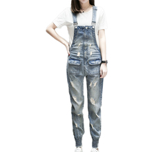 Women Denim Jumpsuit 2019 Spring Summer Ladies Loose Jeans Rompers Female Casual Ripped Hole Boyfriend Denim Overall Playsuit