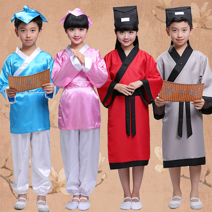 100-180cm Ancient Confucius Hanfu Dance Costume Kid Festival Outfit Baby Girl Boy Clothes Tangsuit Chinese Style Carnival Party