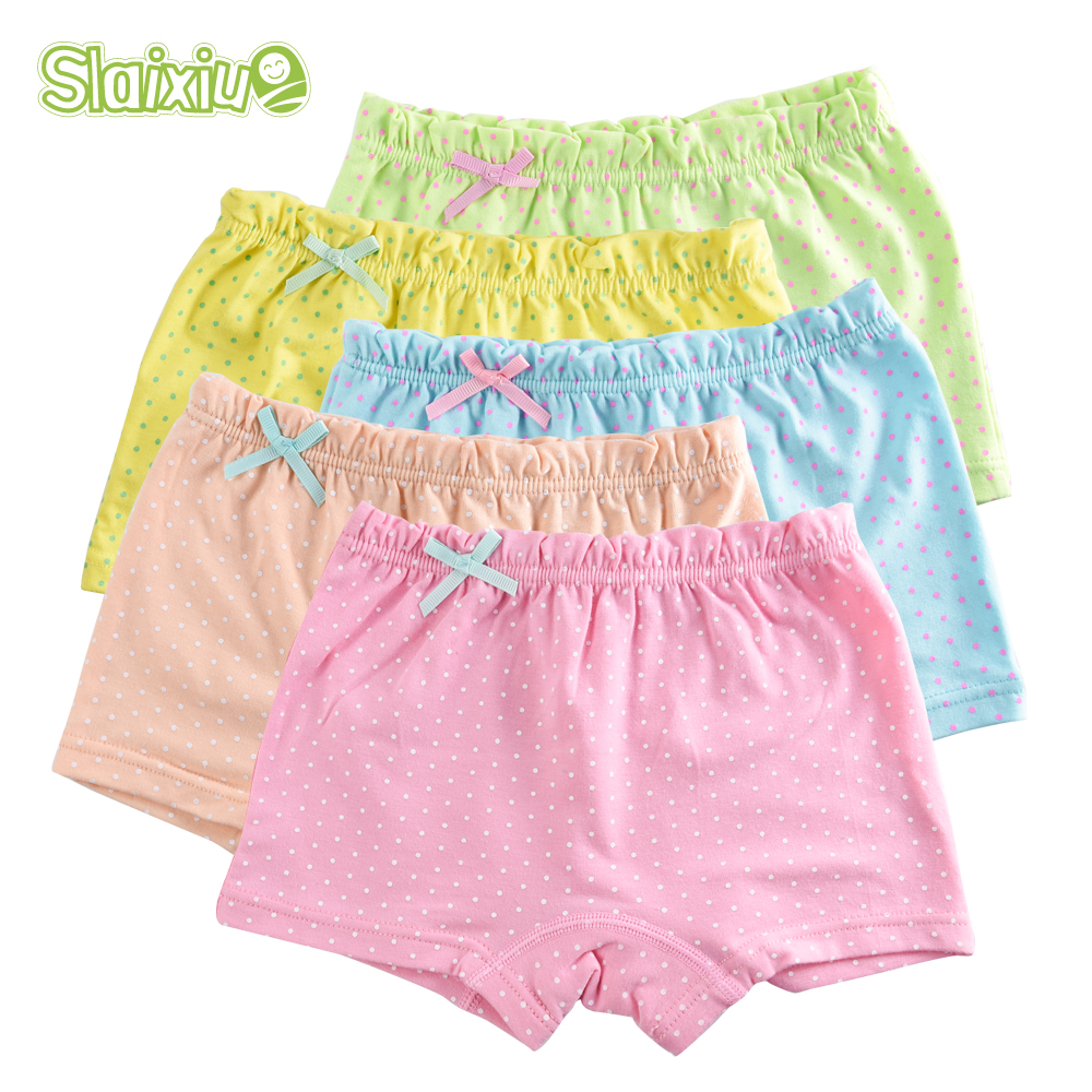 5Pcs/Lot Organic Cotton Material Kids Girls Underwear Dot Candy Colors Girls Boxer For Baby   Panties   Children's Clothing