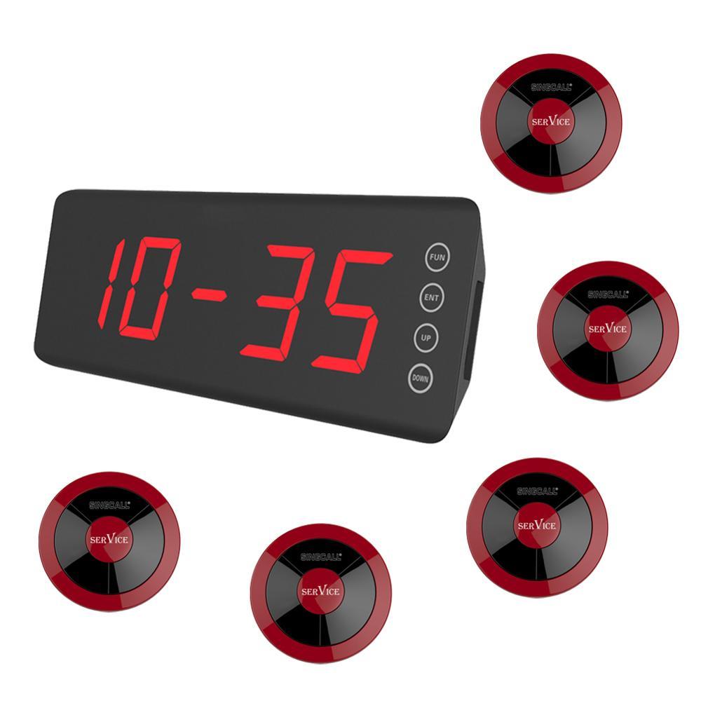 Système d'appel sans fil SINGCALL, 1 récepteur d'écran, 5 boutons d'appel de serveur imperméables, couleur rouge pour café, KTV, restaurant