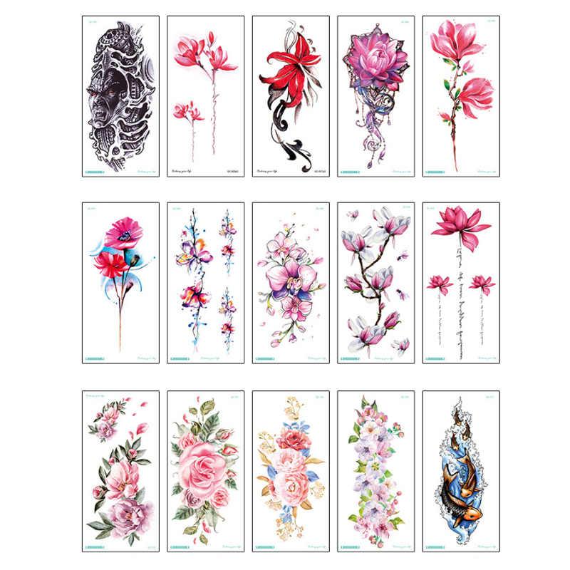 Tatuaje de flores coloridas de moda Mujeres Nuevo tatuaje temporal impermeable negro Calcomanía para arte corporal