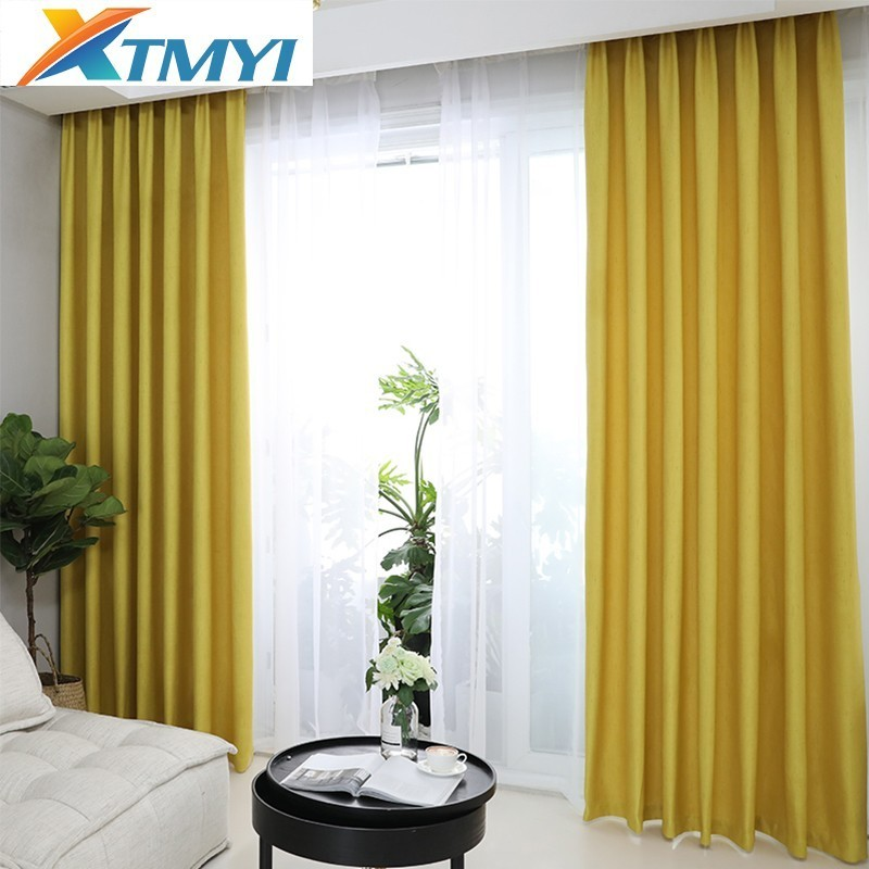 Solid Blackout Curtain For Bedroom Home Decor Faux Linen Curtains For Living Room Customized