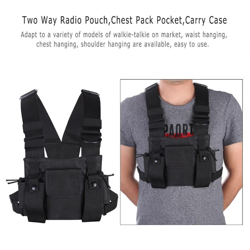 Nylon Two Way Radio Pouch Chest Pack Pocket Walkie Talkie Bag Holder Carry Case For Motorola CP040 For Baofeng UV-5R