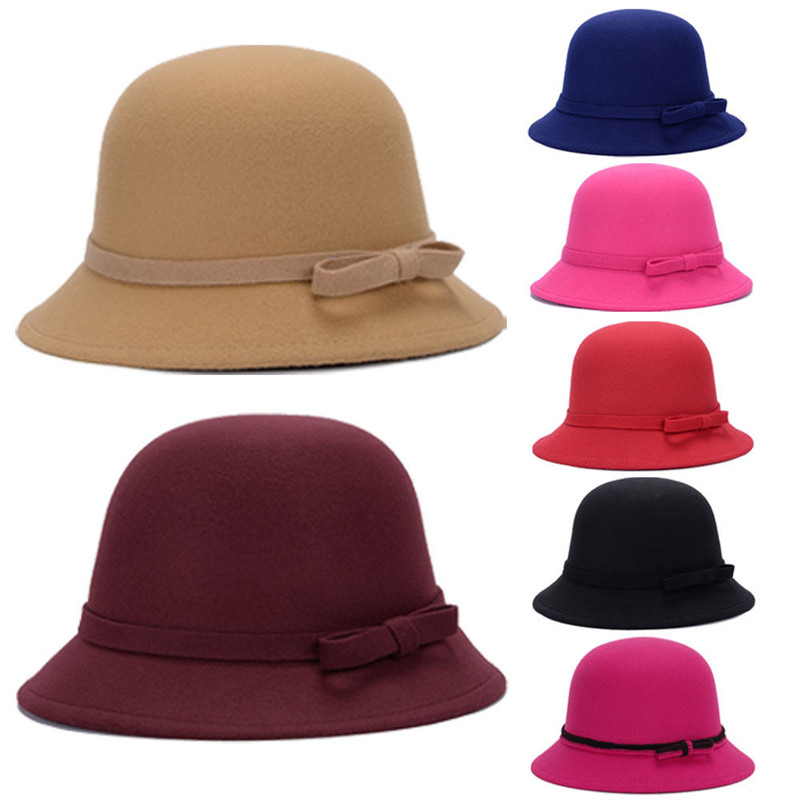 100% Quality Spring Winter Berets Hat Painter Style Hat Women Wool Vintage Berets Solid Color Caps Female Bonnet Warm Walking Cap Bow Fedoras