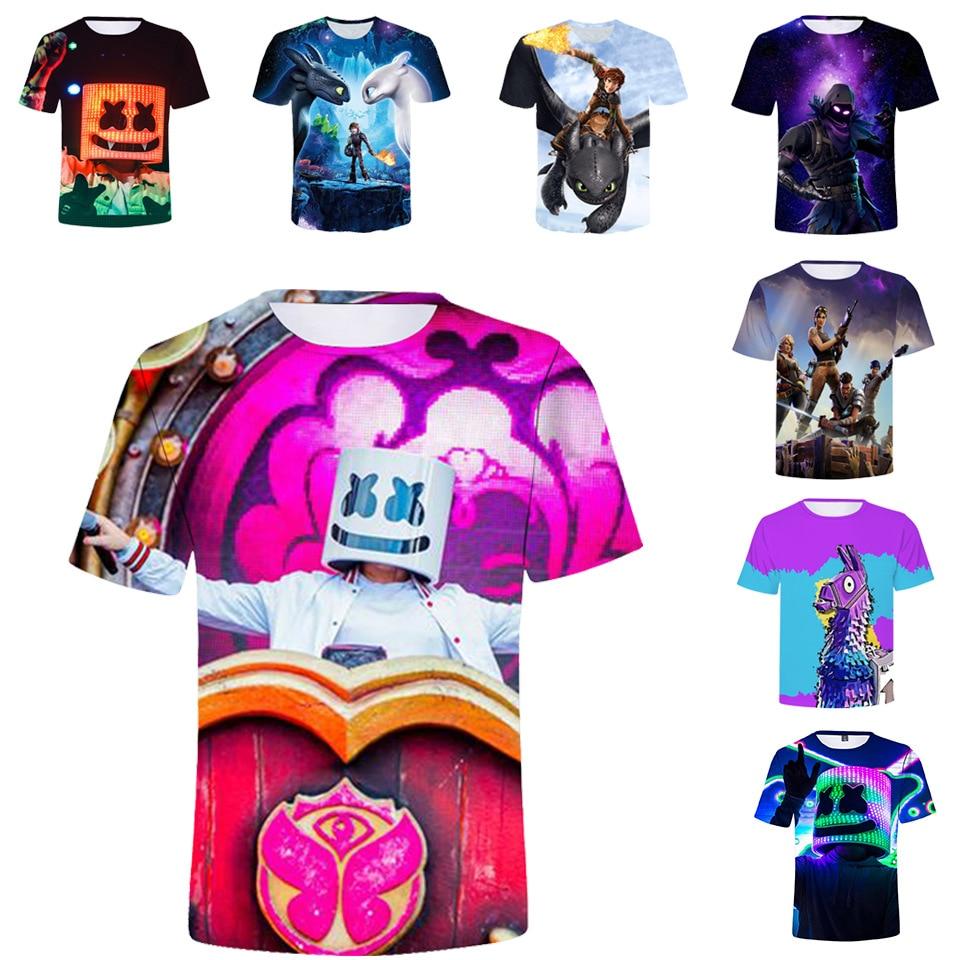 2019 How To Train Your Dragon 3d Full Print T Shirt Pokemon Shirt Boys Girls T-shirt Dj Marshmello Children Funny T Shirt