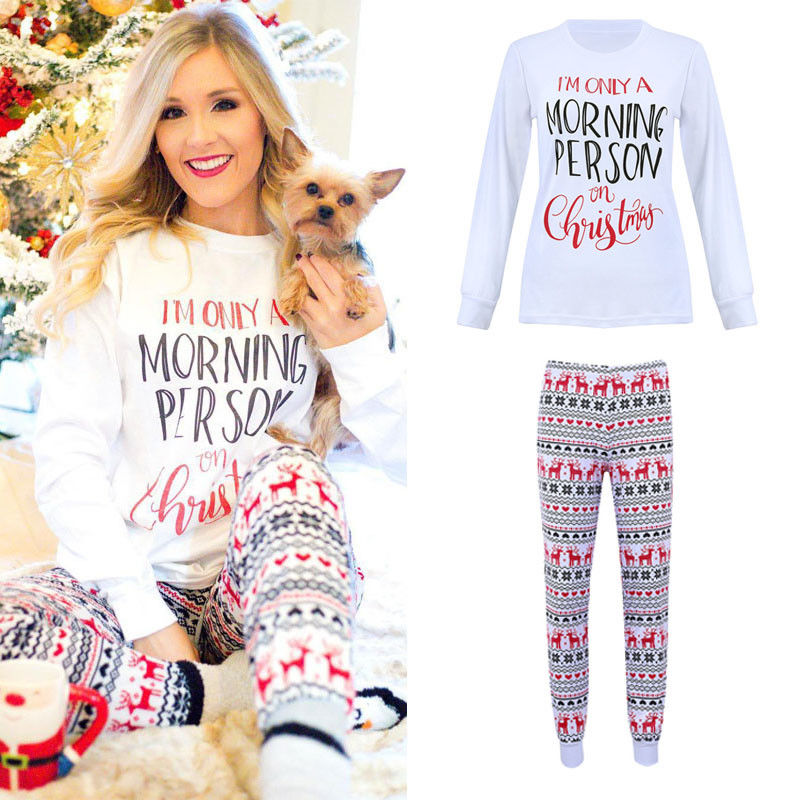 Floral Print Women Christmas Pajamas Sets Ladies Christmas Homewear Pjs Female Sleepwear Nightwear Top And Pants Suits