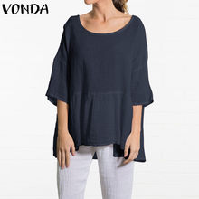 VONDA Maternity Clothing Women Tunic Tops 2019 Summer Plus Size Pregnant Blouse Long Shirt Lady Casual Baggy Cotton Blusas Mujer(China)