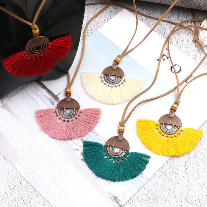Hot Sale Long Leather Women's Bohemia Necklaces Round Hollow Tassel Necklace Vintage Charm Sweater Rope Chain for women